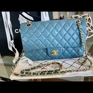 CHANEL Blue Lamb Skin Flap Classic Chain Bag Gold